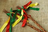 stock photo of flogging  - Two Czech Easter rods with colorful ribbons - JPG