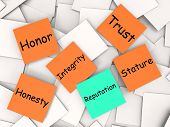 stock photo of integrity  - Reputation  Note Meaning Integrity Honesty And Credibility - JPG