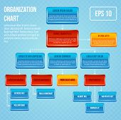 foto of hierarchy  - Organizational chart 3d concept business work hierarchy flowchart structure vector illustration - JPG
