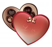 pic of valentine candy  - drawing of sweet chocolate in a heart shape box - JPG