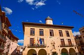 stock photo of stonewalled  - Mora de Rubielos in Teruel City Town Hall square at Aragon stonewall village Maestrazgo Spain - JPG