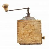 pic of wooden box from coffee mill  - old coffee grinder isolated on a white background - JPG