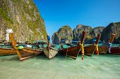 pic of phi phi  - Longtail boats in Maya Bay - JPG