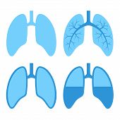 stock photo of tar  - Human Blue Lung Icons Set - JPG