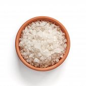stock photo of crystal salt  - Sea salt in bowl on white background with clipping path - JPG