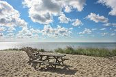 picture of cape-cod  - Picnic table and chairs on a beach on Cape Cod in Provincetown - JPG