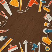 picture of hammer drill  - Repair and construction illustration with working tools icons - JPG