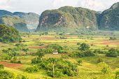 image of early morning  - View of the Vinales Valley in Cuba on the early morning with clouds and mist floating among the mountains - JPG
