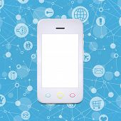 picture of smart grid  - Smart phone on a background lattice social network - JPG