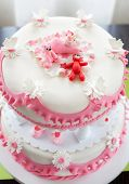stock photo of christening  - Christening cake for baby girl - JPG