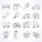 pic of truck-stop  - Car service maintenance icons  - JPG