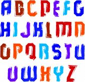 pic of verbs  - Handwritten contemporary vector uppercase letters - JPG