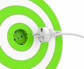 picture of electric socket  - 3d generated picture of a green target - JPG