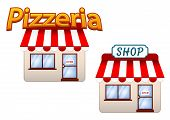 stock photo of quaint  - Cartoon vector shop and pizzeria icons with quaint buildings with striped red and white awnings - JPG