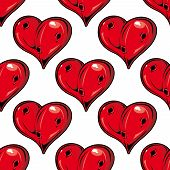 stock photo of love hurts  - Red Valentines hearts seamless pattern with holes symbolic of love with a dimensional shine in a repeat motif in square format suitable for wallpaper - JPG