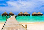 stock photo of kuramathi  - Water bungalows at a tropical island  - JPG