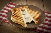 picture of ooze  - toasted cheddar cheese sandwich turkish toast wooden background - JPG