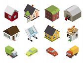 stock photo of car symbol  - Isometric Retro Flat Cars House Estate Icons and Symbols Set Isolated Vector Illustration - JPG