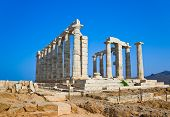stock photo of poseidon  - Poseidon Temple at Cape Sounion near Athens - JPG