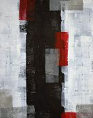 stock photo of abstract painting  - This grey and red abstract art painting is the perfect choice for any room or project in need of a trendy abstract - JPG