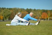 picture of senior adult  - Happy active fit senior couple exercising outdoors
