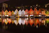 picture of fjord  - Famous Bryggen street in Bergen Norway  - JPG