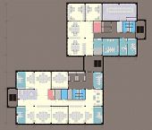 picture of straddling  - Plan a midl office with straddling furniture - JPG