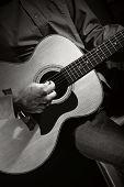 foto of guitarists  - Guitarist playing acoustic guitar - JPG