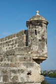 foto of fortified wall  - Fortified walls of the historic Spanish colonial city of Cartagena de Indias in Colombia - JPG