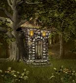 stock photo of elf  - Fantasy elf house in the middle of the forest - JPG