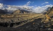 pic of shan  - Scenic panorama of Engilchek glacier in picturesque Tian Shan mountain range in Kyrgyzstan - JPG