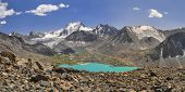 picture of shan  - Scenic panorama of picturesque turquoise lakes in Tien - JPG