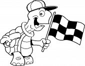 stock photo of turtle shell  - Black and white illustration of a turtle waving a checkered flag - JPG