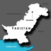 isolated map of Pakistan
