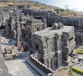 stock photo of ellora  - Ellora caves unesco archaeological site in India - JPG