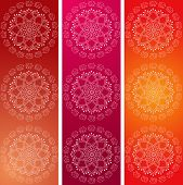 pic of indian elephant  - Set of 3 colorful traditional Indian elephant mandala design vertical banners - JPG
