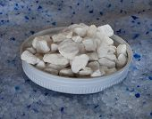 foto of kitty  - Processed gypsum in a lid on top of kitty litter