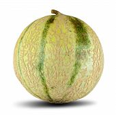 pic of muskmelon  - Close detail view of some sliced Cantaloupe melons isolated on a white background - JPG