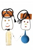 picture of enema  - Humorous caricatures of doctors made of a medical stethoscope - JPG
