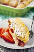 picture of french toast  - Baked French Toast With Strawberry served on plate  - JPG