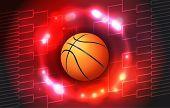 stock photo of basketball  - An illustration of a colorful basketball tournament ball and bracket - JPG