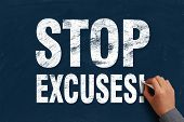 picture of take responsibility  - Businessman is writing Stop Excuses text on blue chalkboard - JPG