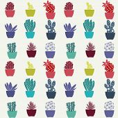 picture of paint pot  - Flat pattern of cactus house plants in pots hand - JPG