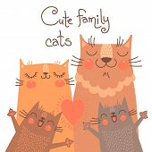 stock photo of baby cat  - Cute card with family cats - JPG