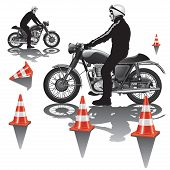 image of driving school  - Motorcycle education school training isolated - JPG