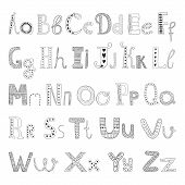 foto of hand alphabet  - Vector hand drawn alphabet with decorative elements for design postcard - JPG