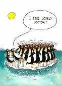 foto of gag  - Cartoon gag about penguins herd and psychiatry - JPG