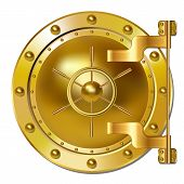 image of bank vault  - Gold Bank doors on white  - JPG