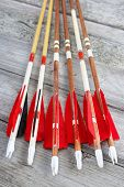 stock photo of fletching  - Wooden archery homemade arrows with plastic nocks and natural feathers vertical - JPG