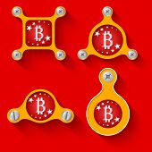 picture of bit coin  - abstract yellow objects and screws and bit coin symbol - JPG